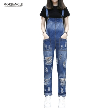 MORUANCLE 2017 New Ladies Ripped Jumpsuit Jeans Fashion Distressed Jeans Rompers For Woman Suspender Denim Overalls With Holes